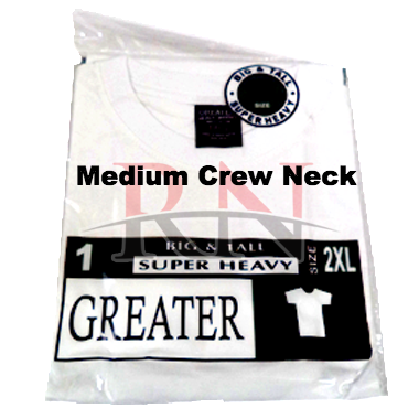 GREATER | WHITE MEDIUM CREW-NECK TSHIRT INDIVIDUALLY PACKAGED - 12 PK