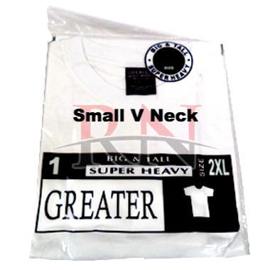 GREATER | WHITE SMALL V-NECK TSHIRT INDIVIDUALLY PACKAGED - 12 PK