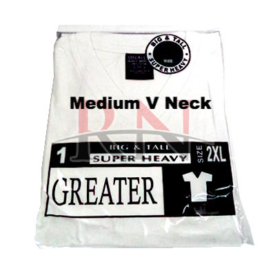 GREATER | WHITE MEDIUM V-NECK TSHIRT INDIVIDUALLY PACKAGED - 12 PK