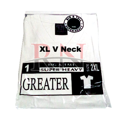 GREATER | WHITE XL V-NECK TSHIRT INDIVIDUALLY PACKAGED - 12 PK