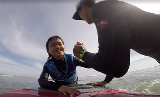 9 Year Old Blind Surfer Gets Stoked Riding First Wave at Doheny State Beach