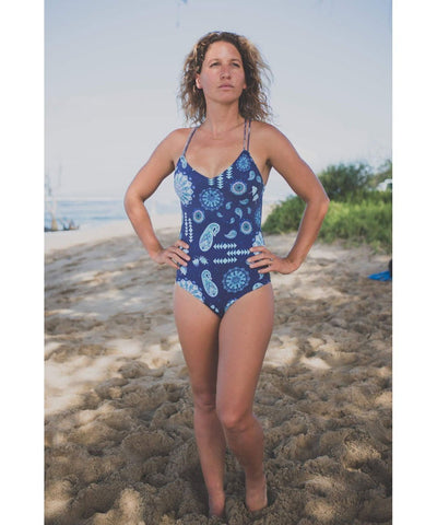 Makena Surf Wear Apparel Navy Utopia / Small Aloha One Piece