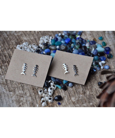 Ocean Love Designs Earrings Fishbone Stud Earrings