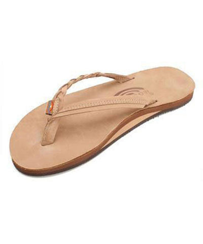 Rainbow Sandals Apparel Sierra Brown / Medium Flirty Braidy - Single Layer Premier Leather with Arch Support with a Braided Strap