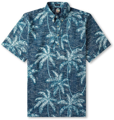 Reyn Spooner Shirts Navy / Small Palm Seas- Pullover