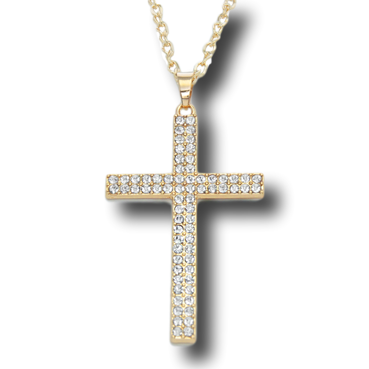 14k gold plated cross rhinestone pendant long chain necklace free 14k gold plated cross rhinestone pendant long chain necklace aloadofball Image collections