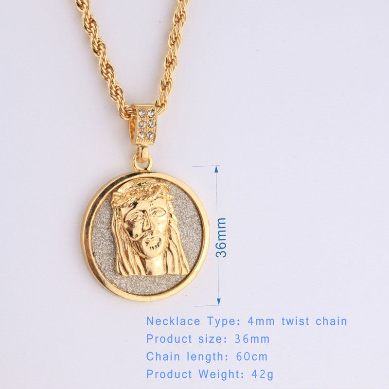 New 2018 18k gp solid round jesus piece w long chain free chainz new 2018 18k gp solid round jesus piece w long chain aloadofball Images
