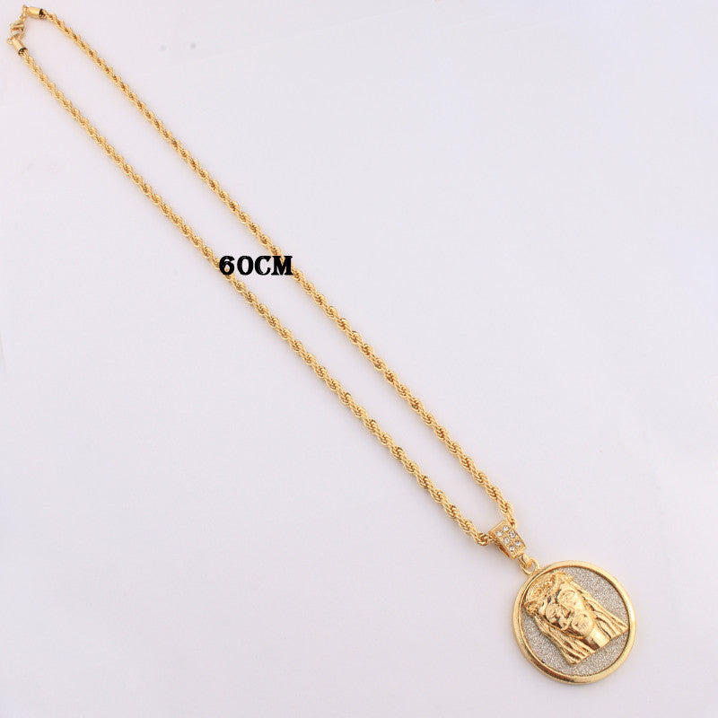 New 2018 18k gp solid round jesus piece w long chain free chainz new 2018 18k gp solid round jesus piece w long chain aloadofball