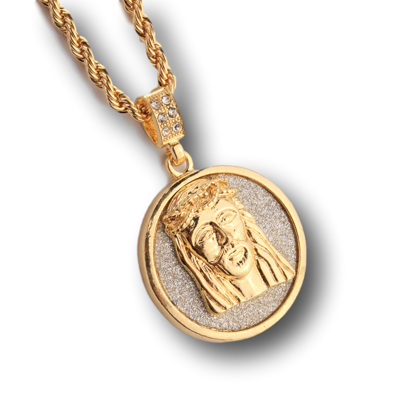 tossari micro jesus products gold piece necklace