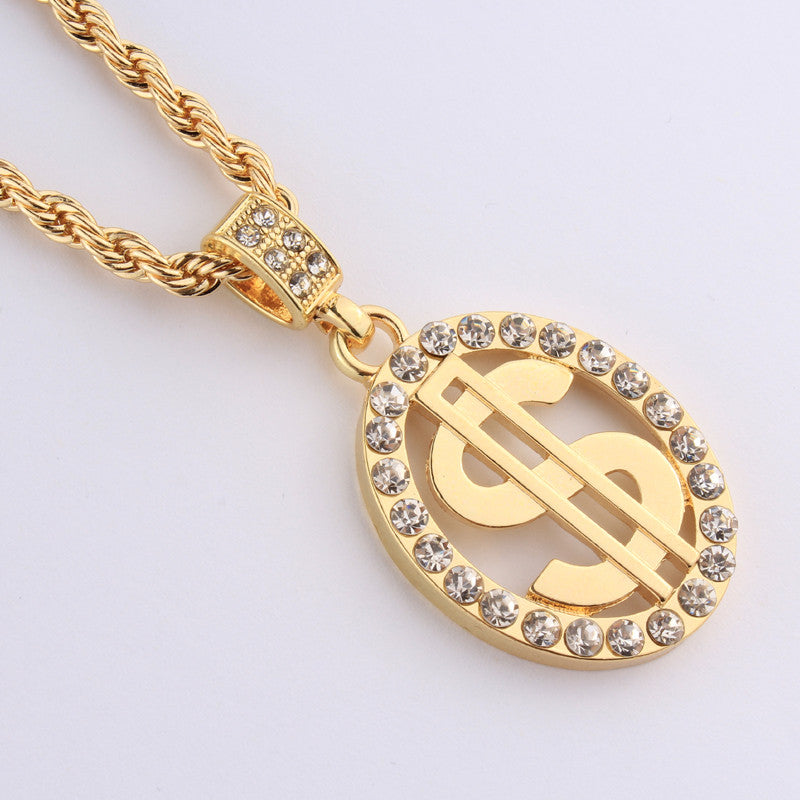 HOT NEW- ICED OUT- 18K GP HUSTLERS DOLLAR SIGN w/ LONG CHAIN ...