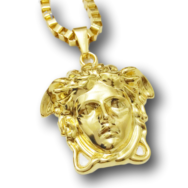 New 2017 18k Gold Plated Medusa Head with Long Gold Necklace
