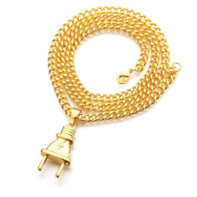 2018 NEW-  18K Gold Plated The PLUG Pendant Necklace w/ Link Chain