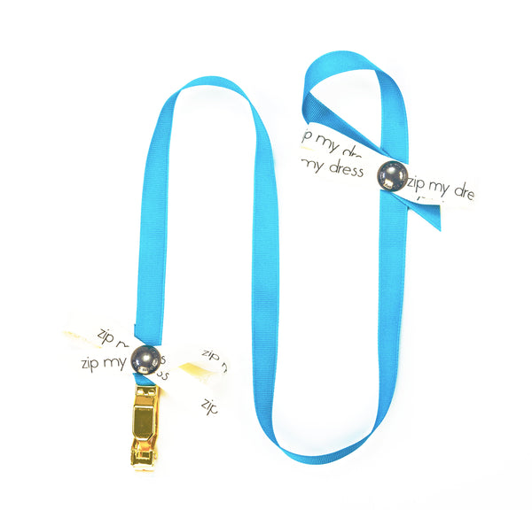 <strong>zip my dress<sup>®</sup></strong> Turquoise Blue ribbon