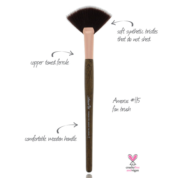 115 Amorus USA Premium Highlighter Fan Face Makeup Brush Amor Us makeup cosmetics brushes vegan cruelty free