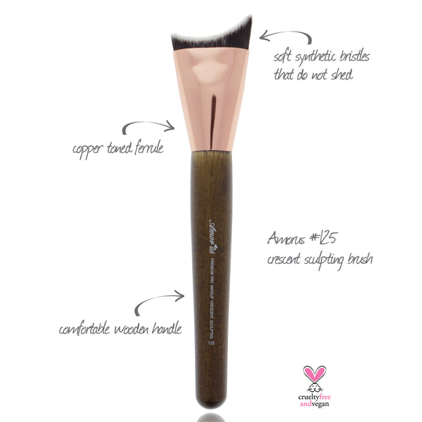 125 Amorus USA Premium Crescent Sculpting Contour Face Makeup Brush Amor Us makeup cosmetics brushes vegan cruelty free