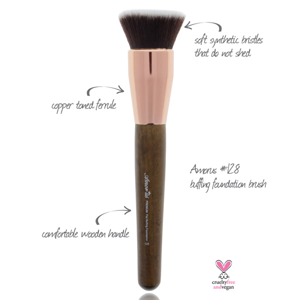 128 Amorus USA Premium Buffing Foundation Kabuki Face Makeup Brush Amor Us makeup cosmetics brushes vegan cruelty free