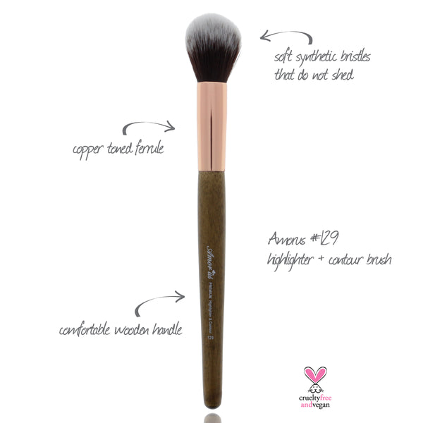 129 Amorus USA Premium Highlighter and Contour Face Makeup Brush Amor Us makeup cosmetics brushes vegan cruelty free