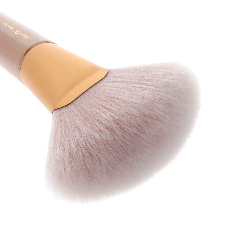 Amorus USA Gold Crush Fluffy Fan Brush #301 Amor us fluffy fan mini brush vegan cruelty free synthetic makeup brush
