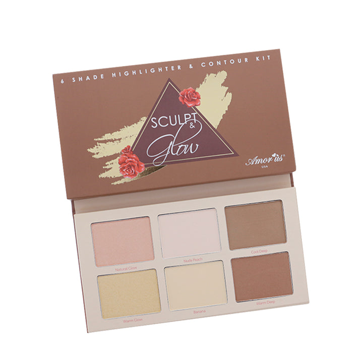 Amorus Sculpt & Glow - Highlighter and Contour Kit Set Palette Makeup Cosmetics Highlighting Contouring