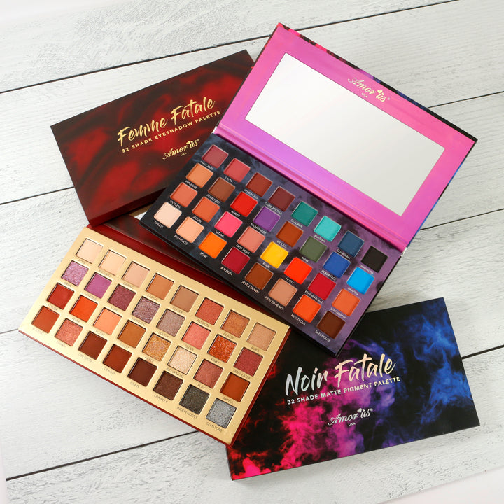 Amorus USA Femme Fatale 32 pan color Eyeshadow glitter palette eye makeup amor us  noir fatale pressed pigment set bundle