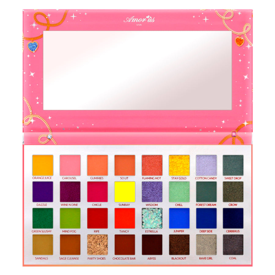 Amorus USA colorful refreshing Dazzle Charm 32 Shade Pressed Pigment Palette Amor us Dazzle Charm