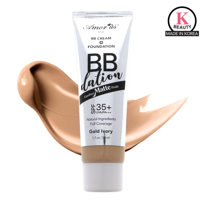 Amorus USA Amor Us #amorususa beauty cosmetics makeup cruelty-free face foundation liquid bb cream foundation spf 35 vitamin e aloe extract argan oil medium full coverage comfort matte finish