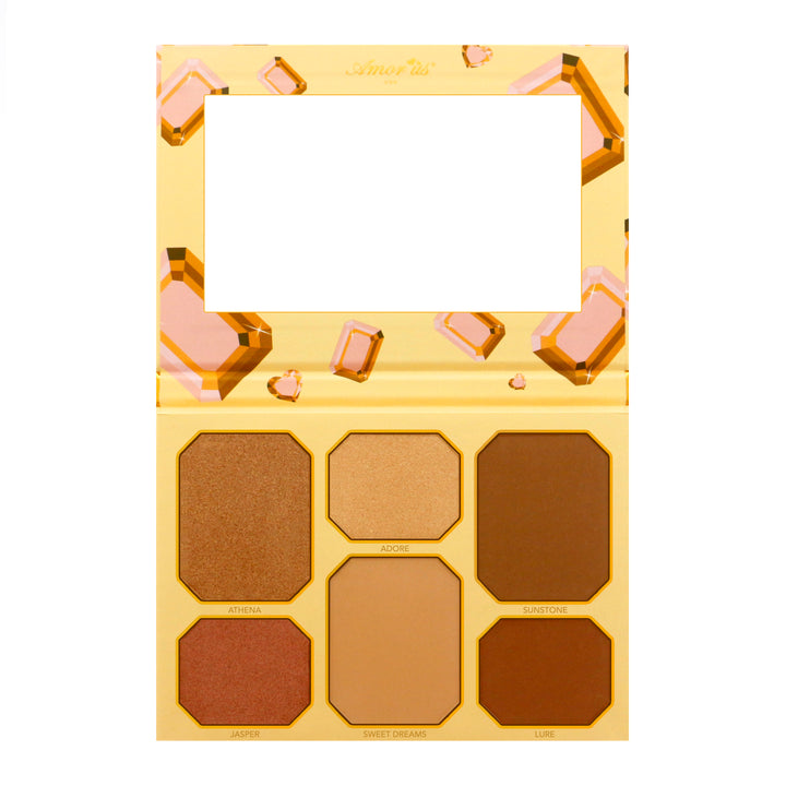Amorus Golden Fever - Highlighter and Contour Kit Set Palette Makeup Cosmetics Highlighting Contouring Bronzer 6 pan amor us