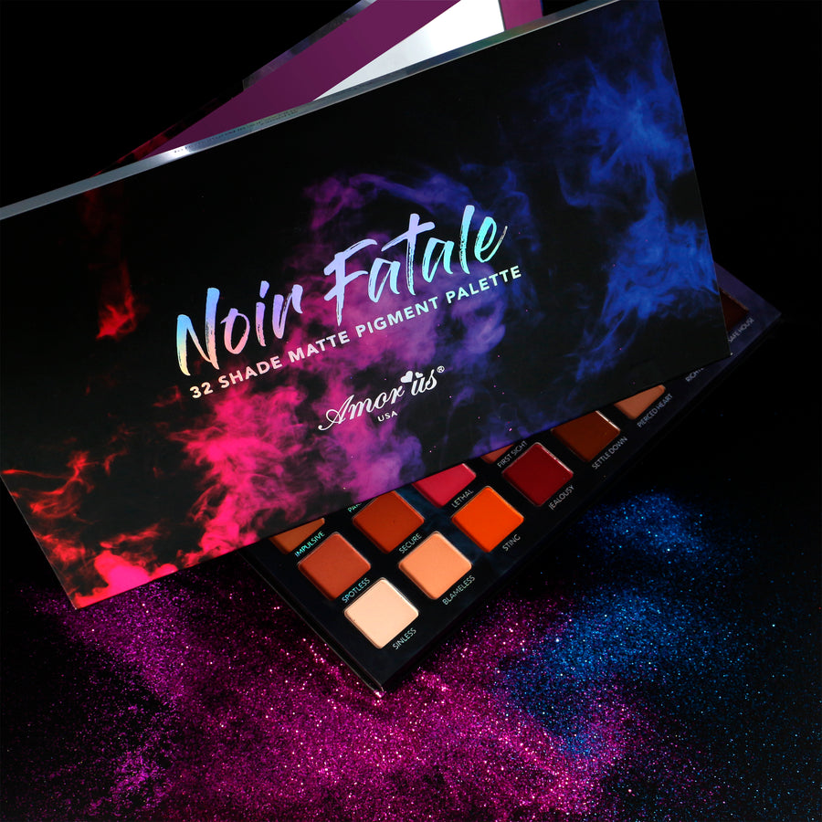 Amorus USA Noir Fatale 32 pan color pressed pigment palette eye makeup amor us