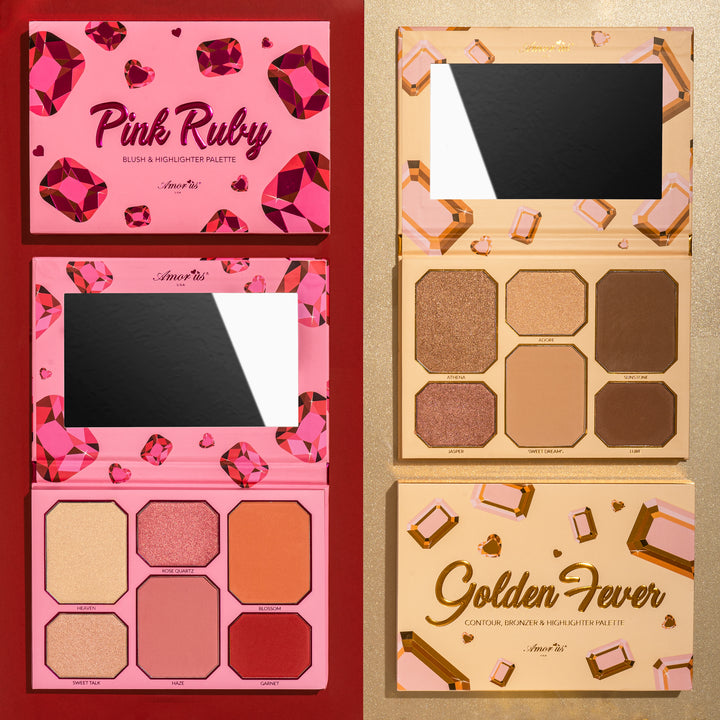 Amorus Pink Ruby Golden Fever Highlighter and Contour Kit Set Palette Makeup Cosmetics Blush Highlighting Contouring Bronzer 6 pan amor us