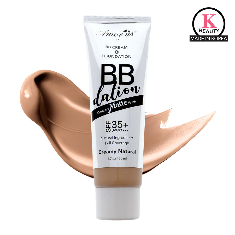 Amorus USA Amor Us BBdation #amorususa beauty cosmetics makeup cruelty-free face foundation liquid bb cream foundation spf 35 vitamin e aloe extract argan oil medium full coverage comfort matte finish bb dation