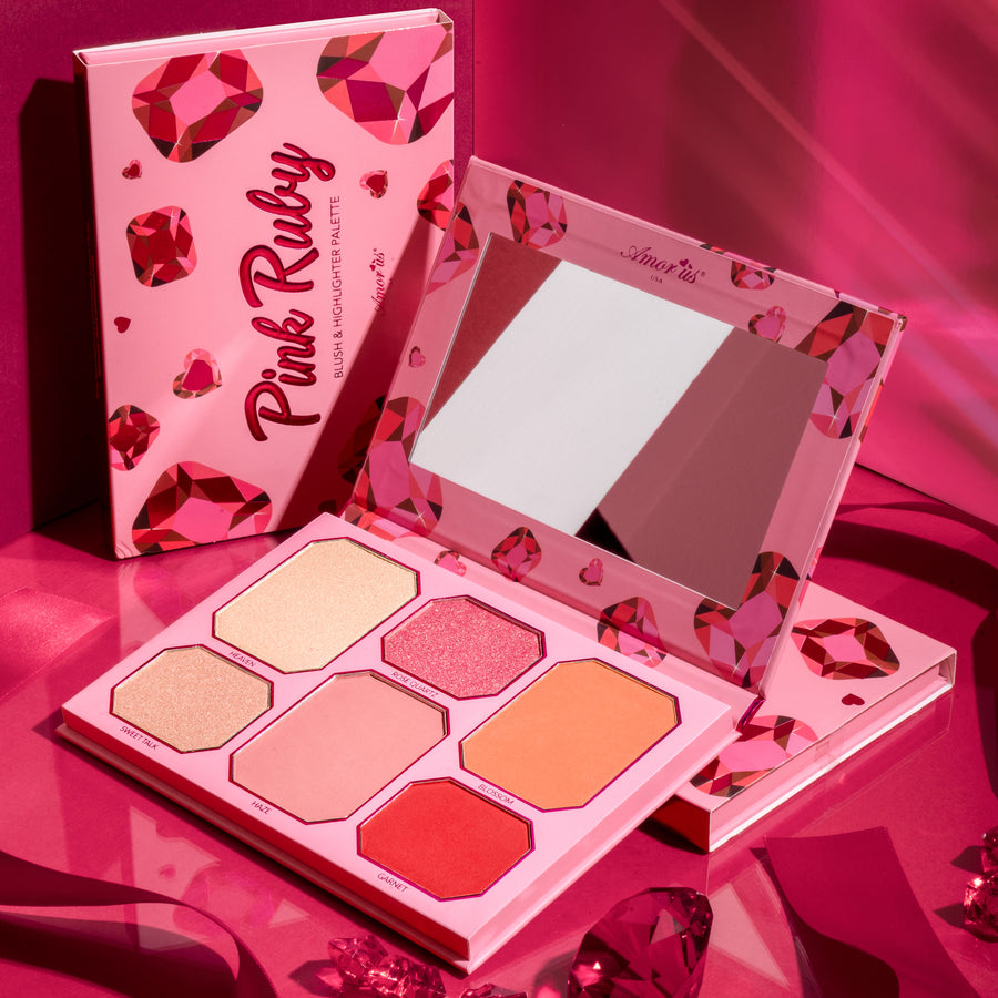 Amorus Pink Ruby - Highlighter and Blush Kit Set Palette Makeup Cosmetics Highlighting Contouring Blush 6 pan amor us