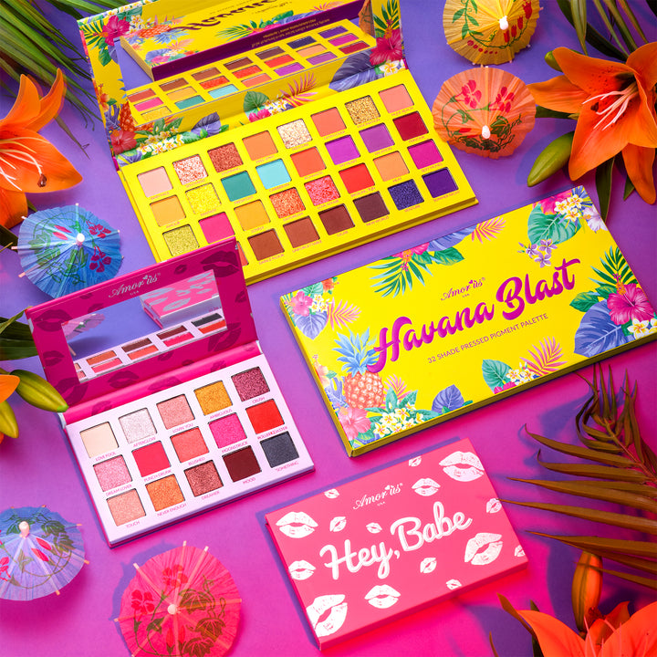 Amorus USA Caribbean Crush Summer Look Colorful Matte Bright Glitters Shimmers Spotlight Buildable Havana Black 32 Shade Hey Babe 15 shades Pressed Pigment Palette Amor us Havana Hey Babe Palette Set