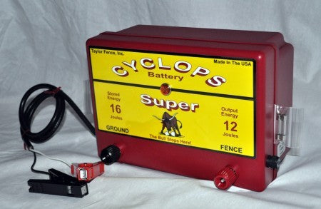 Cyclops SUPER 12V DC Battery powered electric fence charger energizer