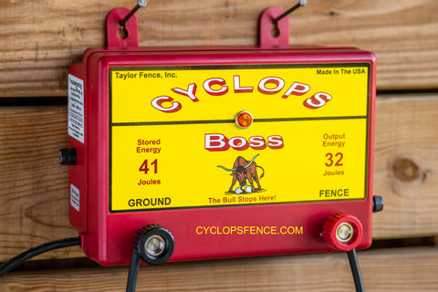 Cyclops BOSS, 32 Joule, 1000 Acre, 110V AC Powered Electric Fence Charger Energizer