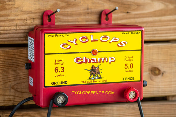 Cyclops CHAMP, 5 Joule, 50 Acre, 110V AC Powered Energizer | Free USA Shipping - CYCLOPS ELECTRIC FENCE CHARGERS