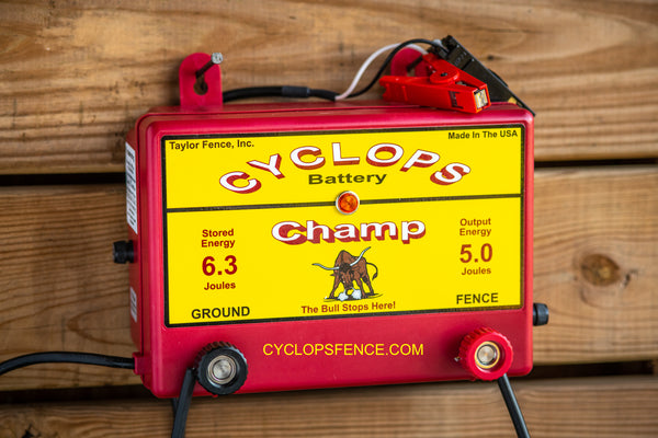 Cyclops CHAMP, 5 Joule, 50 Acre, 12V Battery Powered Energizer | Free USA Shipping - CYCLOPS ELECTRIC FENCE CHARGERS