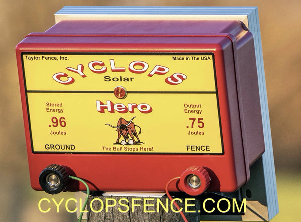 Cyclops HERO, 1.5 Joule, 15 Acre, Solar Powered Electric Fence Charger Energizer | Free USA Shipping -
