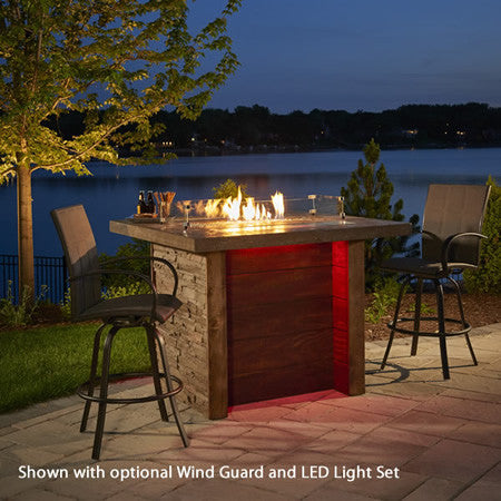 Marquee Pub Height Fire Pit Table with Marbleized Mocha Top - www.outdoorheatingsolutions.com