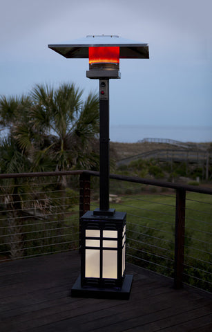 Dauphine Square Mocha Illuminated Patio Heater demo - www.outdoorheatingsolutions.com