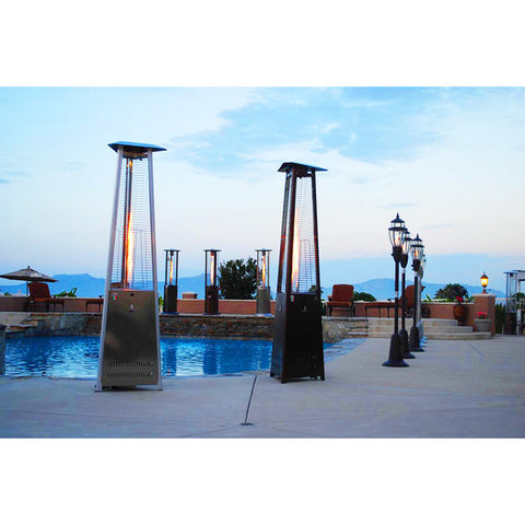 Lava Heat Italia Triangular 8-foot Commercial Natural Gas Flame Patio Heater - www.outdoorheatingsolutions.com