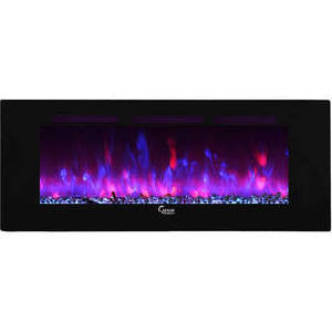Caesar Luxury Electric Wallmount Multicolor Flame Electric Fireplace, 102-inch, Black - www.outdoorheatingsolutions.com