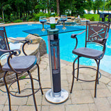 EnerG+ Outdoor Bar Table with Electric Infrared Heater and LED Lights