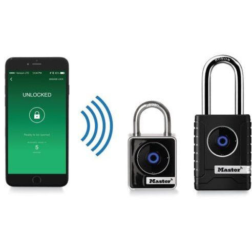 Master Lock Bluetooth Outdoor Smart Padlock 4401DLH Shackle iOS,Android - Designer Entryway door locks access control intercoms home automation