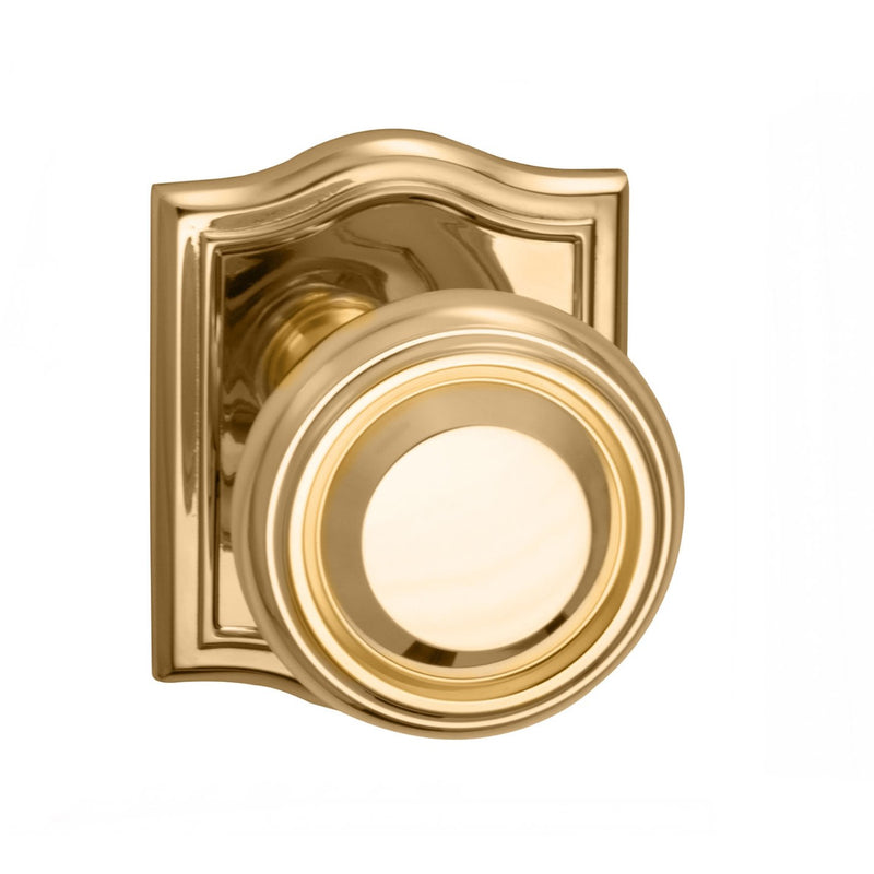 Omnia 565ARPA Passage Door Knob Set with Traditional Knob and Arched Rose from the Prodigy Collection - Designer Entryway door locks access control intercoms home automation