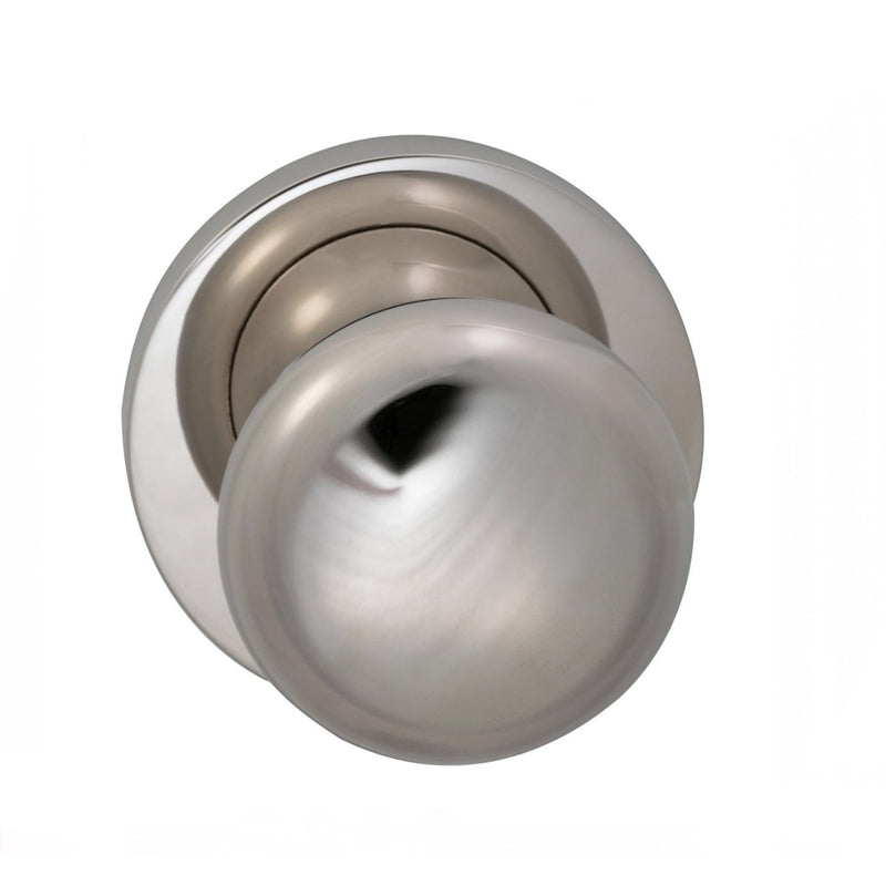Omnia 458MDPA Passage Door Knob Set with Colonial Knob and Modern Rose from the Prodigy Collection - Designer Entryway door locks access control intercoms home automation
