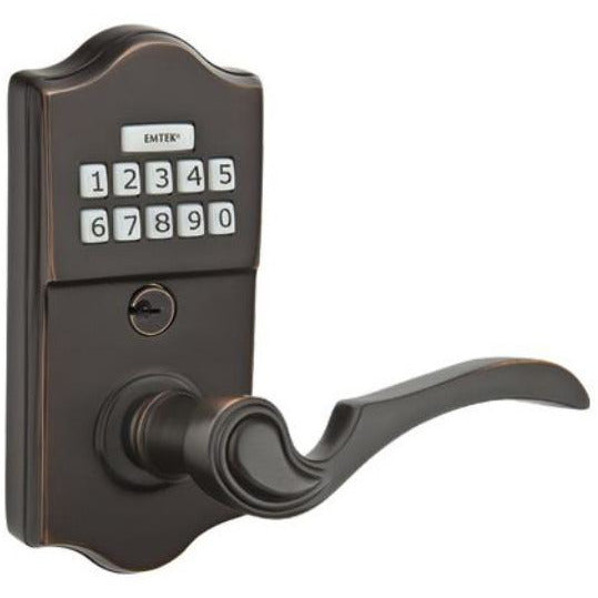 Emtek E2200 Single Cylinder Solid Brass Storeroom/Gate Function Electronic Leverset from the Brass Collection - Designer Entryway door locks access control intercoms home automation