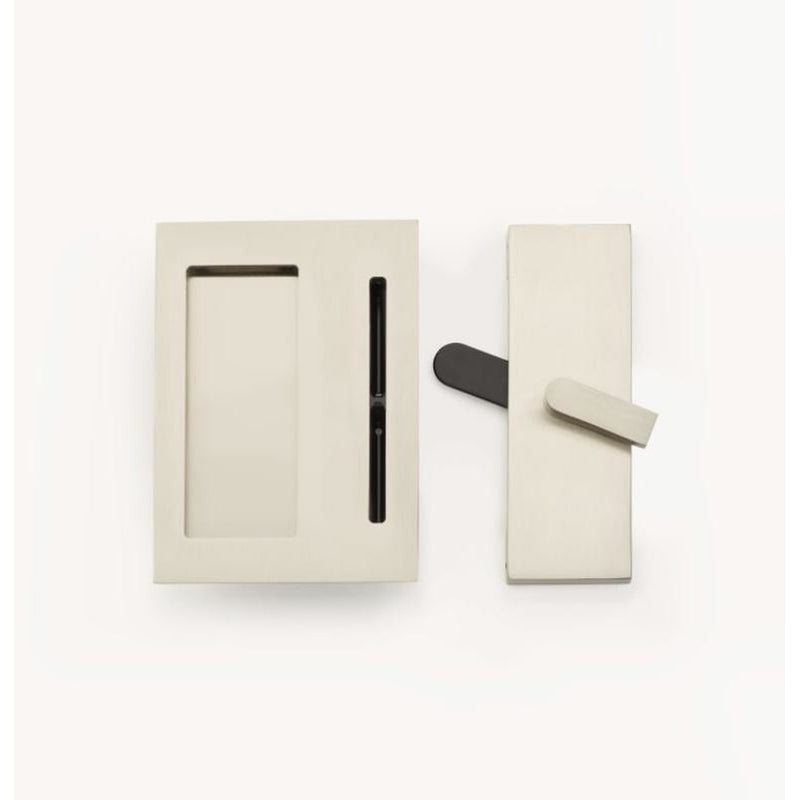 Emtek 222202 Modern Rectangular Surface Jamb Mounted Privacy Lock w/Flush Pull and Integrated Strike for Barn Door. - Designer Entryway door locks access control intercoms home automation