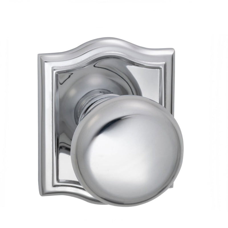 Omnia 458ARPD Dummy Door Knob Set with Colonial Knob and Arched Rose from the Prodigy Collection - Designer Entryway door locks access control intercoms home automation