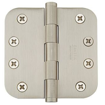 "-Emtek 96134 4"" x 4"" Solid Brass 5/8"" Radius Corner Plain Bearing Mortise Hinge - Pair - Designer Entryway door locks access control intercoms home automation"