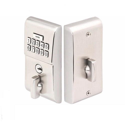 -Emtek E1020 Single Cylinder Solid Brass Electronic Deadbolt from the Brass Modern Collection - Designer Entryway door locks access control intercoms home automation